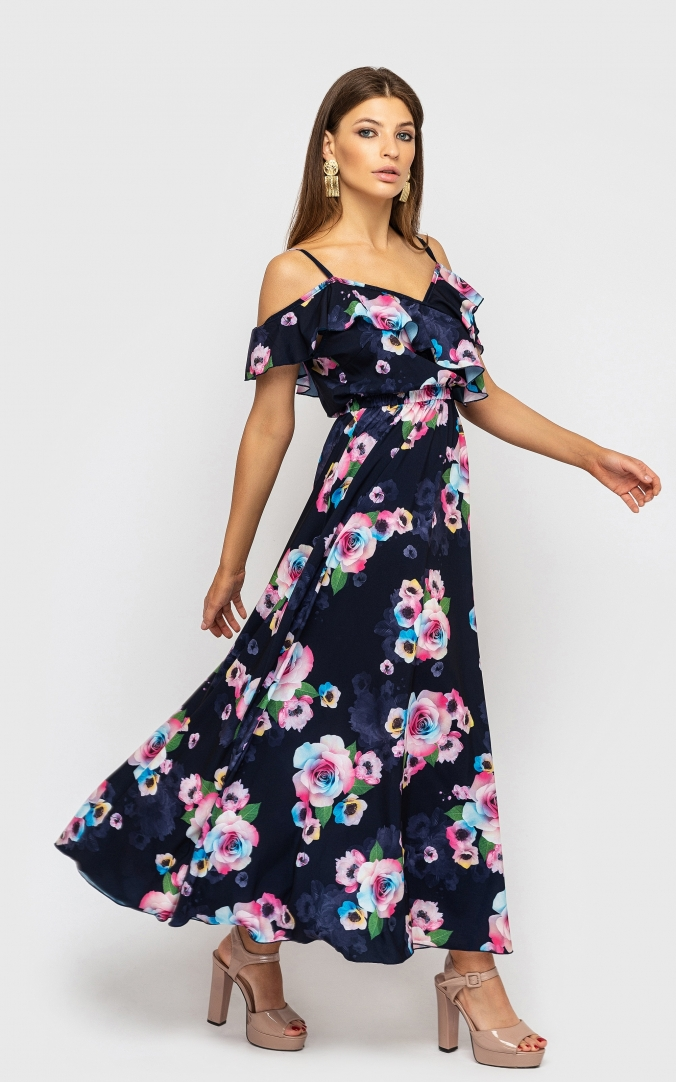 Dress with low shoulders (roses multicolor)