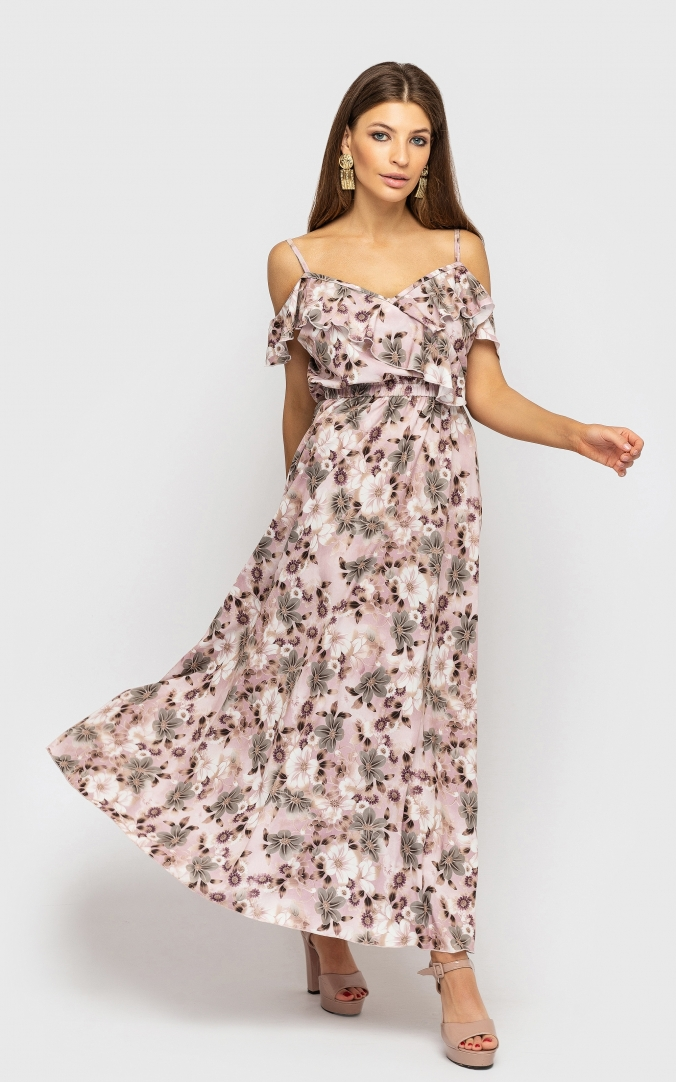 Dress with low shoulders (pink with floral print)