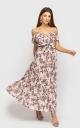 Плаття зі спущеними плечима (рожеве з квітковим принтом)