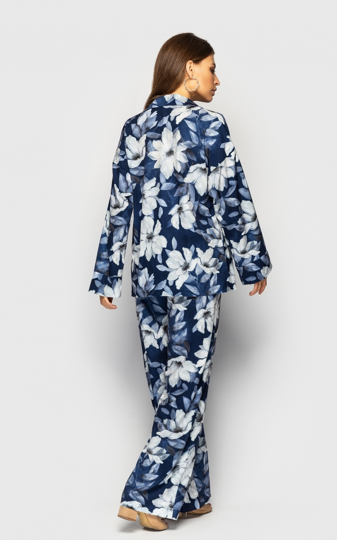 Summer three-piece suit (blue with flowers)