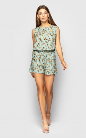 Back-cut summer jumpsuit(turquoise)