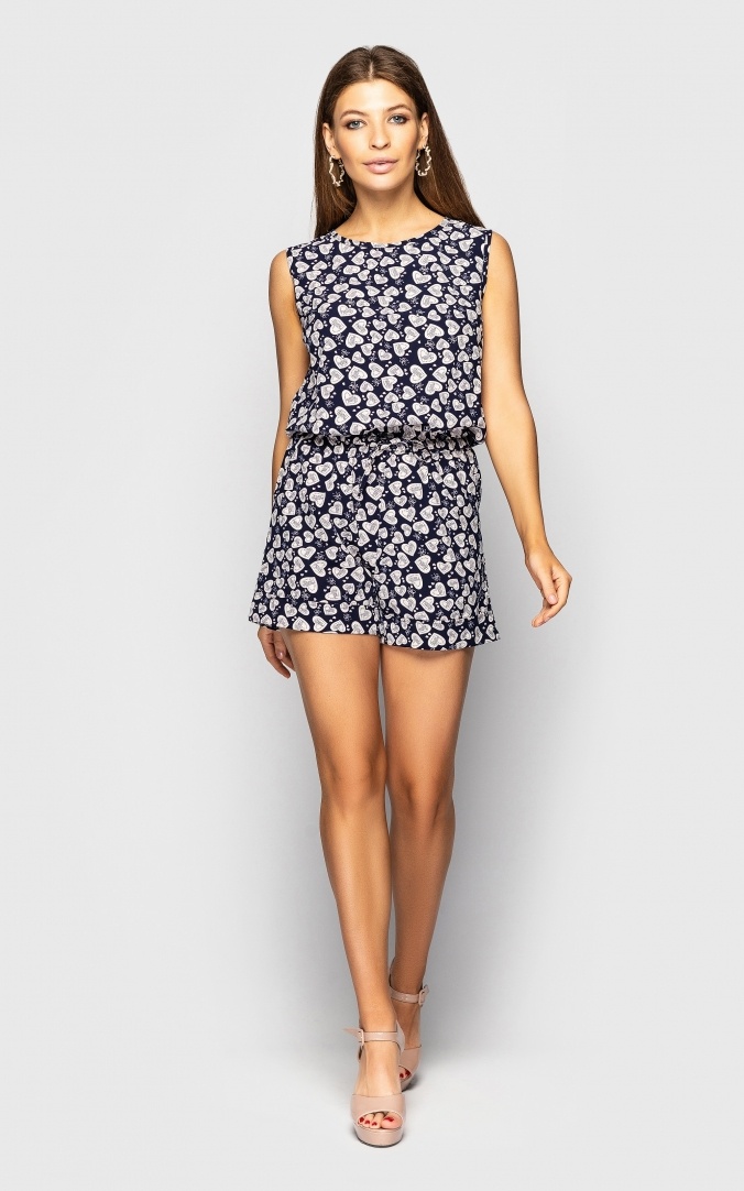 Summer jumpsuit with a neckline on the back(hearts)