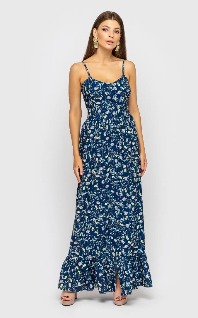 Sundress with straps with a slit (blue)
