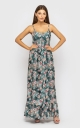 Sundress with straps with a slit (green)