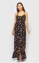 Sundress with straps with a slit (black)