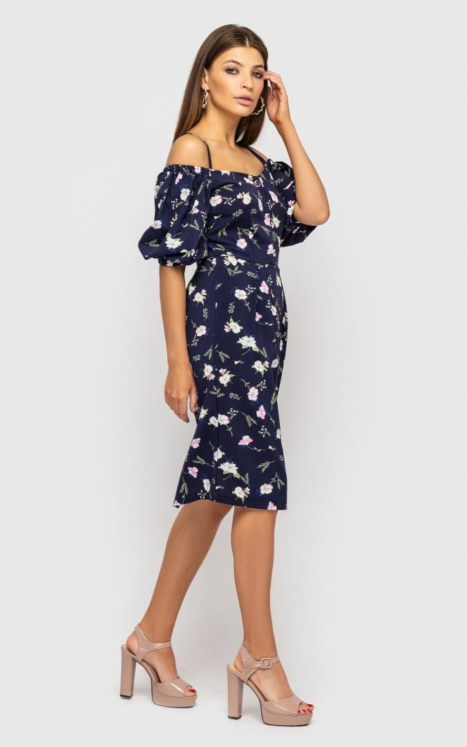 Платье приталенное в длине миди(синий)