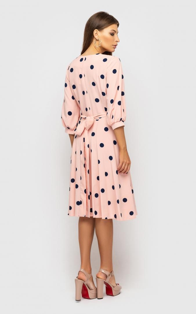 Платье на запах(розовое в горох)
