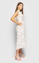 Платье с V-образным вырезом(белое)