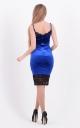 Комбінована оксамитова сукня (синя)