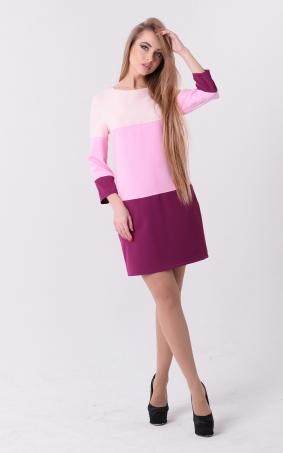 Прямое трехцветное платье