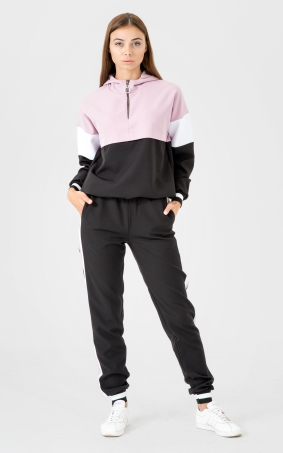 Sports suit with a hood (black-pink)
