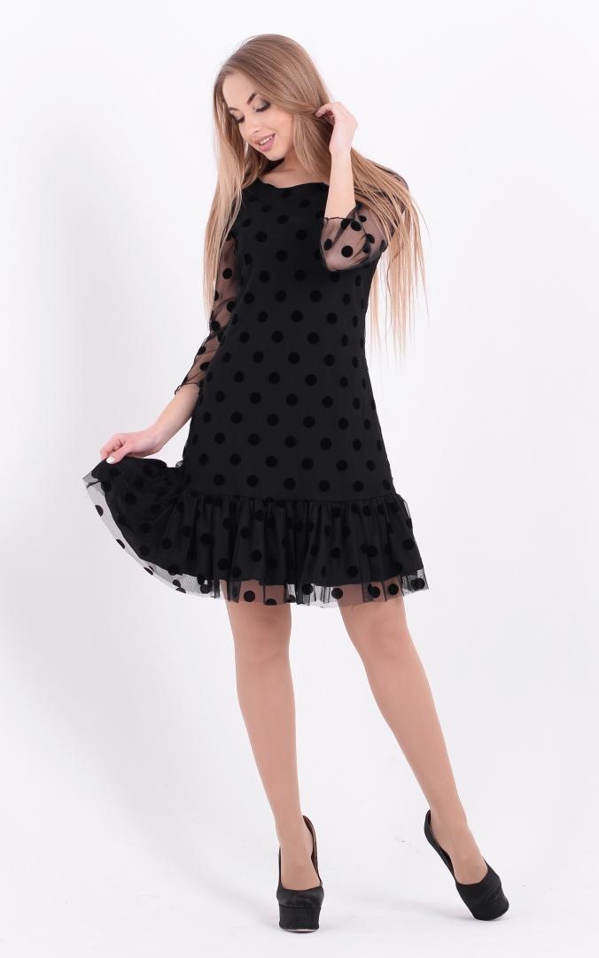 Коктейльное платье горох