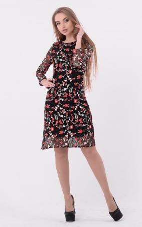 Сукня-трапеція з вишивкою (чорна)