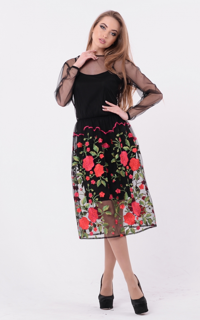 Midi dress with embroidery