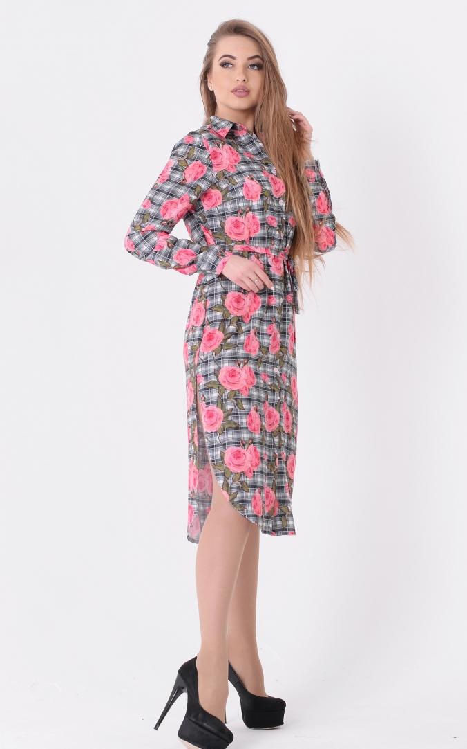 Платье-рубашка цветы
