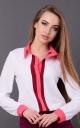 Модная короткая блузка (белая-бордовая)