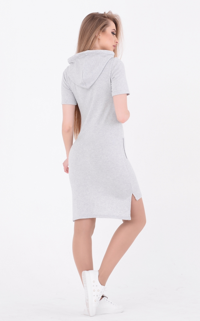 Asymmetrical dress with hood