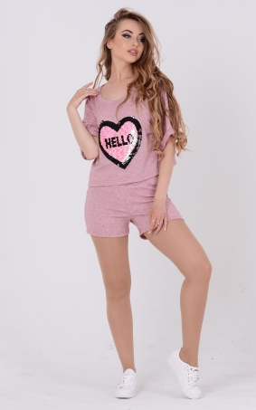 Light suit-two sequins (pink)