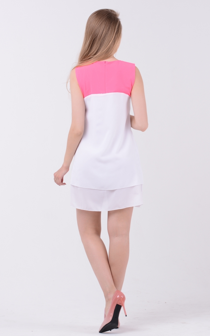 Airy two-tone dress (white-raspberry)