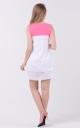 Повітряна двокольорова сукня (біло-малинове)