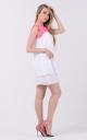 Воздушное двухцветное платье (бело-малиновое)